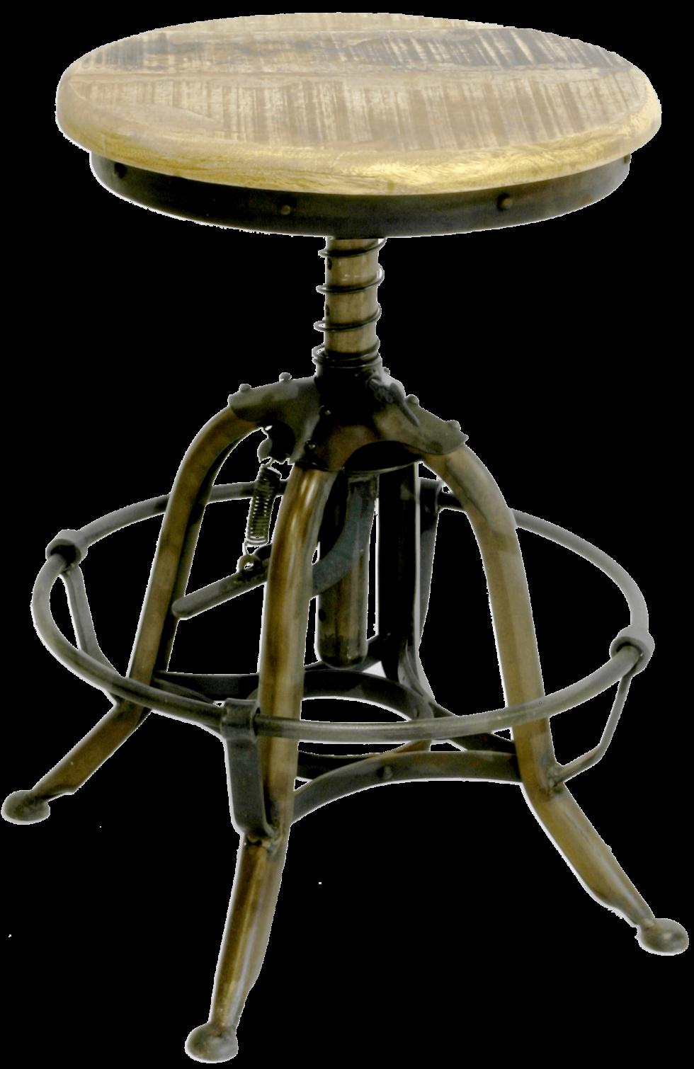 Mechanische kruk met mango houten zitting en ijzer frame