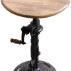 Industriële slingerkruk met massief mango houten zitting en gietijzer frame