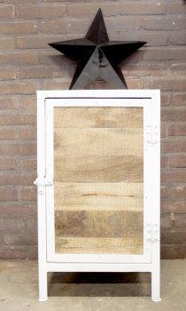 K029w Industrieel kastje met mango houten deur bij quip&Co